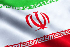 Iranian flag waving texture fabric background, crisis of iran for nuclear Stock Photos