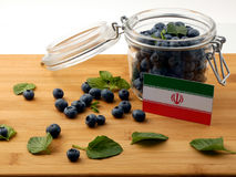 Iranian flag on a wooden plank with blueberries  on whit Stock Photography