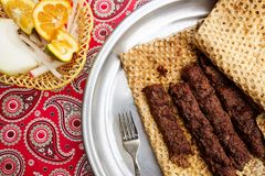 Iranian food kebab with traditional bread. stock photo