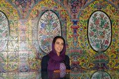 An Iranian girl inside the Golestan Palace, Tehran royalty free stock photo