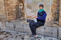 The Iranian lonely elderly who Sitting alone, Isfahan, Iran. Royalty Free Stock Image