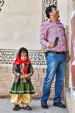 Iranian man with daughter inTabatabaei historical house, Kashan, Royalty Free Stock Image