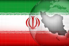 Iranian map and flag background Royalty Free Stock Image
