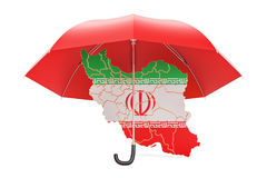 Iranian map under umbrella. Security and protect or insurance co. Ncept, 3D Stock Photo