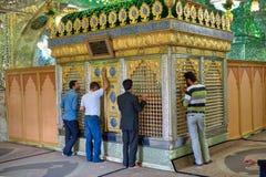 Iranian men worship an Islamic shrine, Mirrored Mausoleum, Shira Stock Photo