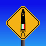 Iranian missile warning sign. Nuclear missile warning sign with Iranian flag illustration Royalty Free Stock Image