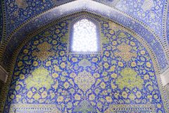 Iranian mosque blue tiles. Iranian mosque in Isfahan, Iran colorful tiles used in historical mosques in Isfahan, Iran Jame Mosque in Isfahan stock photos