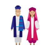 Iranian national dress. Illustration of national costume on white background Stock Images