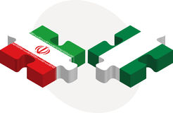 Iranian and Nigerian Flags in puzzle Stock Photos