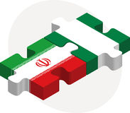 Iranian and Nigerian Flags in puzzle Royalty Free Stock Image