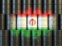 Iranian oil fuel energy concept. Flag of Iran painted on oil bar Stock Photography