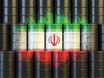 Iranian oil fuel energy concept. Iranian flag painted on oil bar Royalty Free Stock Images