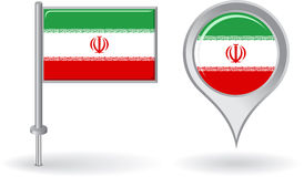 Iranian pin icon and map pointer flag. Vector Royalty Free Stock Photo