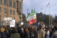 IRANIAN PROTEST AGAINST GOVERNMENT. K؂ENHAVN/COPENHAGEN/DANMARK /DENMARK.   Iranian immigrants living in Copenhagen staged proest rally against Present Royalty Free Stock Images