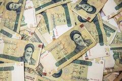 Iranian rial banknotes. Tehran, Iran - October 15, 2016: A lot of Iranian rial banknotes Royalty Free Stock Images