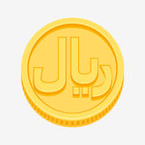 Iranian rial symbol on gold coin Stock Images
