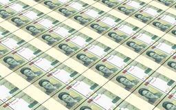 Iranian rials bills stacked background. Royalty Free Stock Photos