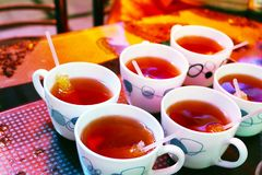 Iranian tea cups with sugar royalty free stock photography