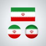 Iranian trio flags, vector illustration Stock Photos
