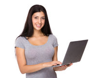 Iranian woman use of laptop Royalty Free Stock Images