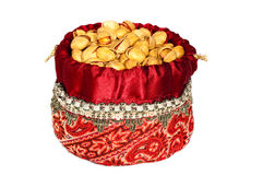 Iranian woven bag fliled with pistachio nuts. Pistachio nuts from Iran in an attractive Iranian decorated woven bag Stock Image