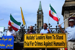 Iranians protesting on front of Parliament Hill Stock Images