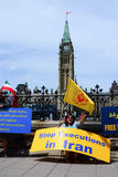 Iranians protesting on front of Parliament Hill Stock Photo