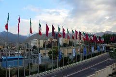 Iranische Flaggen mit Schnee-mit einer Kappe bedeckten Bergen im Hintergrund, Teheran, der Iran stockbild
