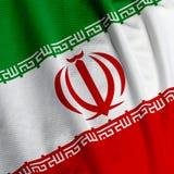 Iranische Markierungsfahnen-Nahaufnahme Lizenzfreie Stockfotos