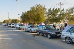 Iranska handelsresande som bor i tält på stranden på Persiska viken Bandar Ganaveh iran Royaltyfri Foto