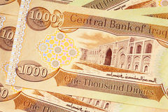 Iraq 1000 Dinar Notes CBI. Central Bank of Iraq 1000 Dinar note. Dinar denomination, newly printed in 2003. On the back you see Al-Mustansirya University in Royalty Free Stock Photos