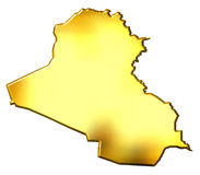 Iraq 3d Golden Map Stock Photos