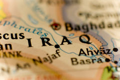 Iraq. Close on a map showing the country of Iraq Stock Image