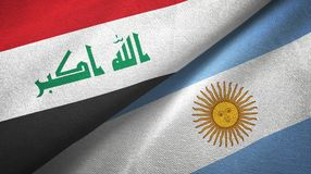 Iraq and Argentina two flags textile cloth, fabric texture. Iraq and Argentina flags together textile cloth, fabric texture vector illustration