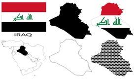 Iraq - bandera, cuatro contornos del mapa del vector y mapa de Oriente Medio Fotos de archivo libres de regalías
