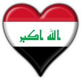 Iraq button flag heart shape Royalty Free Stock Images