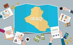 Iraq country growth nation team discuss with fold maps view from top. Vector illustration stock illustration