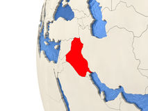 Iraq on 3D globe Royalty Free Stock Photos