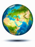 Iraq on Earth with white background. Iraq in red on model of planet Earth hovering in space. 3D illustration isolated on white background. Elements of this image stock photo
