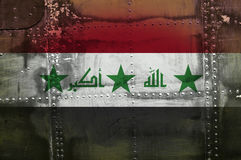 Iraq flag. On metal background royalty free stock image