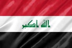 Iraq Flag. With waving on satin texture vector illustration