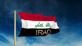 Iraq flag slider style with title. Waving in the