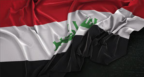 Iraq Flag Wrinkled On Dark Background 3D Render Royalty Free Stock Images