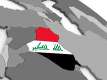 Iraq on globe with flag Royalty Free Stock Photography
