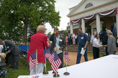 Iraq immigrant. Receiving document with 76 new American citizens at Independence Day Naturalization Ceremony on July 4, 2005 at Thomas Jefferson's home Royalty Free Stock Images