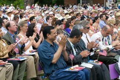 Iraq immigrant. Applauding with 76 new American citizens at Independence Day Naturalization Ceremony on July 4, 2005 at Thomas Jefferson's home, Monticello Royalty Free Stock Photography