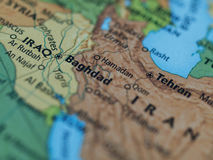 Iraq Iran map Royalty Free Stock Image