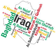 Iraq map and cities. Map of Iraq and text design with major cities Stock Images