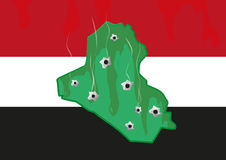 Iraq Map and colors with Bullet Holes. Militant and Civil War Crisis. Stock Images