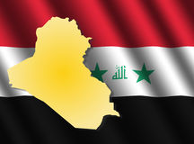 Iraq map on flag Royalty Free Stock Photo